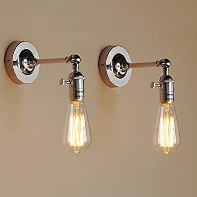 Pathson 2 Sets of Industrial vintage Metal Sconce Wall Light Edison Lamp Fitting from Pathson