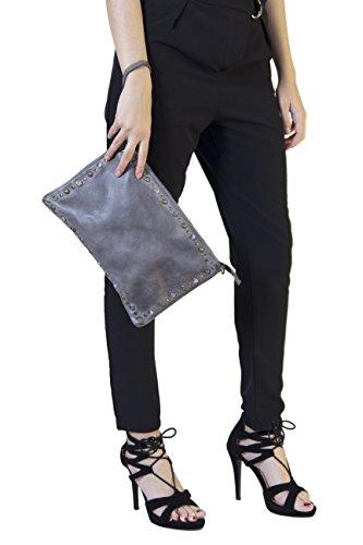 Pochette Borchiata Morgan Visioli Fashion Grigio