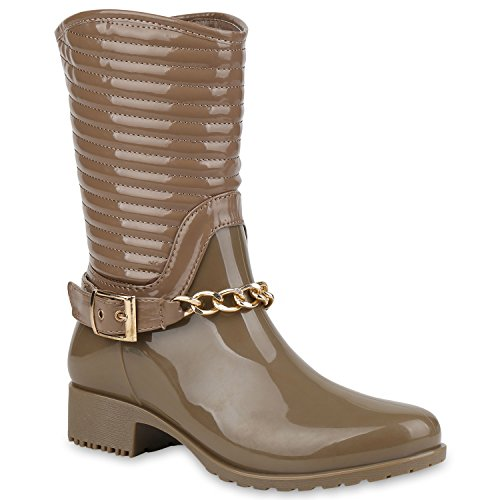 Gesteppte Damen Schuhe Gummistiefel Lack Stiefel Ketten 57422 Khaki Avelar 39 Flandell (Stiefel Gesteppte)