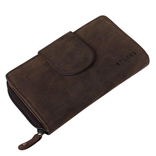 STILORD 'Lena' Portafoglio donna pelle vera vintage portamonete grande borsellino lungo portafogli per carta di credito banconota documento d'identità passaporto contanti, Colore:marrone pallido marrone pallido