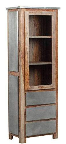 The Wood Times Wohnzimmerschrank Massiv Vintage Look Odisha Sheeshamholz, FSC Zertifiziert, BxHxT 67x190x40 cm