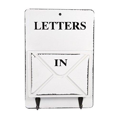 Vintage cassetta postale/ mailbox di legno a parete, scatola d'immagazzinaggio con piloni portachiavi per corridoio portone cestello portaoggetti ( colore : bianca )