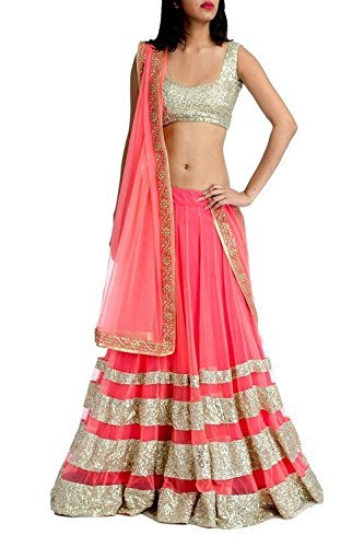 Siyaram Creation Women\'s Net Anarkali Lehenga Choli (Cel-8_Pink_Free Size)