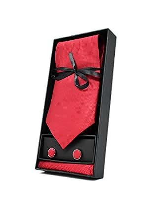 OXFORD COLLECTION Cravatta da uomo, Fazzoletto da Taschino e Gemelli Rosso - 100% seta - Classico, Elegante e Moderno - (Confezione Regalo, ideale per un matrimonio, con un abito, in ufficio.)