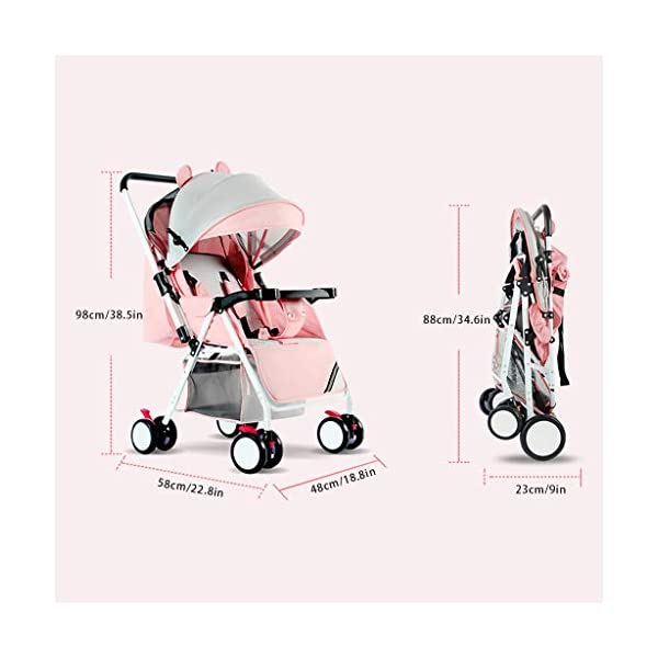 JIAX Baby Stroller, Foldable Pram Carriage With 5-Point Harness, Convenience Stroller, Lightweight Stroller With Aluminum Frame, Extra Large Storage Basket-Infant Stroller For Travel And More JIAX ✢FULL CANOPY DESIGN: Light rain proof, 300D / 600D Oxford fabric is skin-friendly and breathable, soft and comfortable, strong and durable, universal in four seasons in winter, warm and cool in summer, new upgrade, large rear window ✢ROLL UP THE REAR CURTAIN IN SPRING AND SUMMER: more airy ✢THE REAR CURTAIN CAN BE LOWERED IN AUTUMN AND WINTER: more windproof and warm, can sit and lay for 0 ~ 3 years old 7
