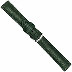 "Uhrbanddealer 22mm Ersatzband Uhrenarmband ""Bio-Kalb"" Nappa Leder grün pflanzlich gegerbt seidenmatt 247722s"