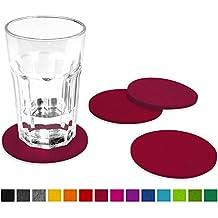 FILU Filzuntersetzer rund 8er Pack einfarbig (Farbe wählbar) dunkelrot / bordeaux – Untersetzer aus Filz für Tisch und Bar als Glasuntersetzer / Getränkeuntersetzer für Glas und Gläser