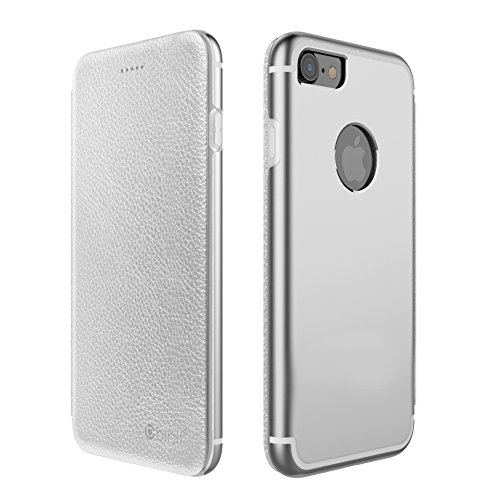 Original Binli ECHT Leder iPhone 7 Schutzhülle Aluminium Rückseite Hülle Hard Cover Flip Back Case Tasche TPU - in Schwarz Silber
