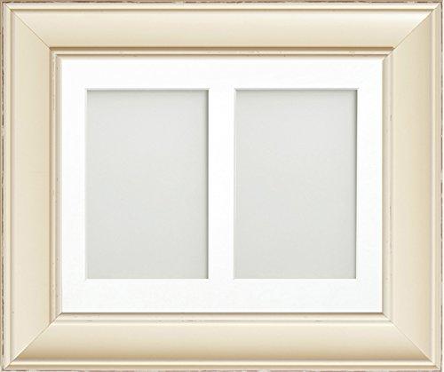 Brooke Range 25,4x 20,3cm Antik Bilderrahmen weiß Collage Bilderrahmen mit Passepartout 2-aperture weiß für Bild Größen 15,2x 10,2cm, plastik, cremefarben, 10 x 8 for Pic Size 6 x 4 Inches( x 2) (4x6 Frames Pic)