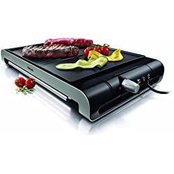 Philips HD4419/20 - Plancha Grill Placa estrías y lisa ,2300 W con termostato ajustable, superficie antiadherente de la placa, color negro