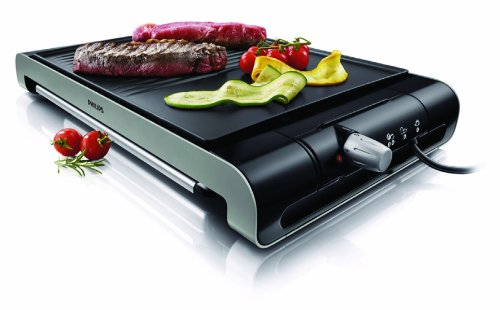 Philips HD4419/20 - Plancha Grill Placa estrías y lisa,2300 W con termostato ajustable, superficie antiadherente de la placa, color negro