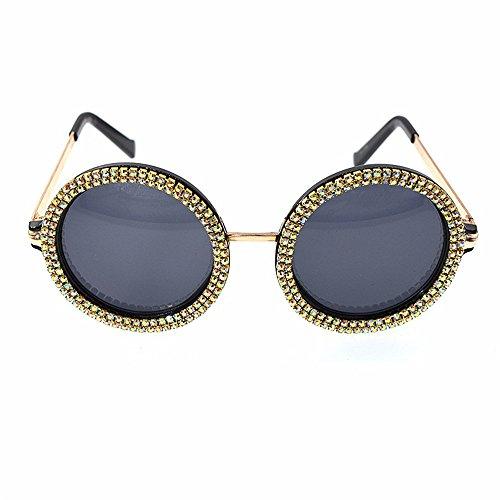 GWF Kristallrunde Sonnenbrille-Retro- barocke Sonnenbrille für Frauen-Modeschau-Art-Sonnenbrille-Pers5onlichkeit-Strand-Sonnenbrille