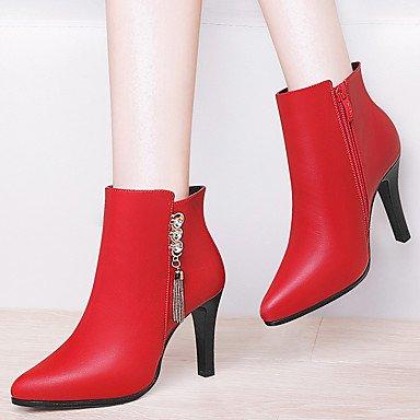RTRY Scarpe Donna Sintetico Autunno Inverno La Moda Stivali Stivali Bootie Stiletto Heel Babbucce/Stivaletti Per Party &Amp; Abito Da Sera Rosso E Nero US6.5-7 / EU37 / UK4.5-5 / CN37