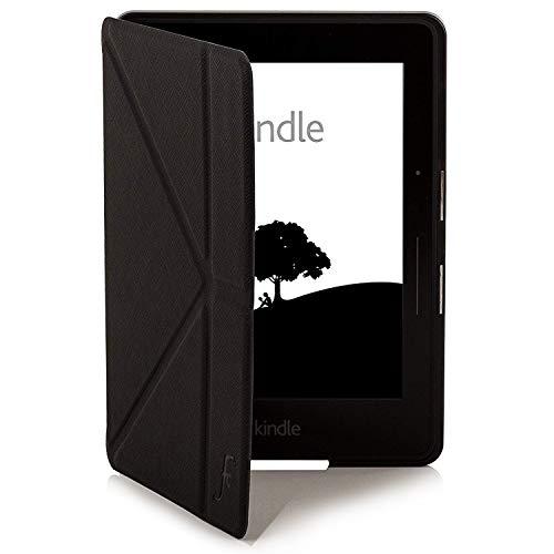 azon Kindle Voyage Origami Hülle Schutzhülle Tasche Bumper Folio Smart Case Cover Stand - Ultra Dünn und Leicht mit Rundum-Geräteschutz und intelligente Auto Schlaf / Wach Funktion inkl. Eingabestift (SCHWARZ) ()