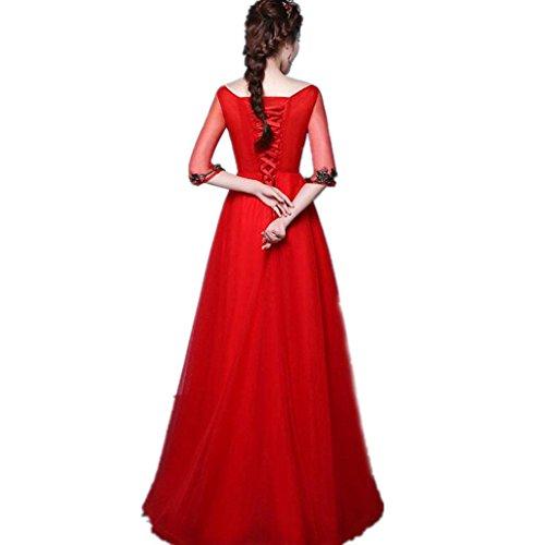 HUA abito a maniche lunghe rossa sposa brindisi abito da matrimonio era sottile festa di (Brindisi Sposa Sposo)