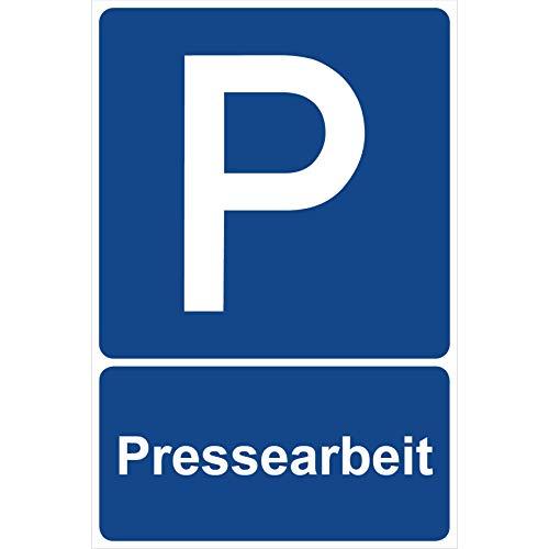 Parkplatzschild Pressearbeit Parken Schild Blau 30 x 20 x 0,3 cm Kunststoff Parkplatzmakierung Parken Parkplatzschilder Parkplatz Hinweisschild, Verbotsschild, Parkplatz Freihalten