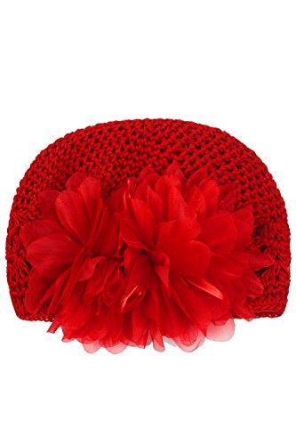 Bambino ragazza Baby uncinetto a maglia di lana cappello fiore bambino inverno maglia cappello Red