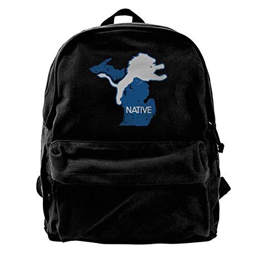 Rucksäcke, Daypacks,Taschen, Classic Canvas Backpack Michigan Native Unique Print Style,Fits 14 Inch Laptop,Durable,Black