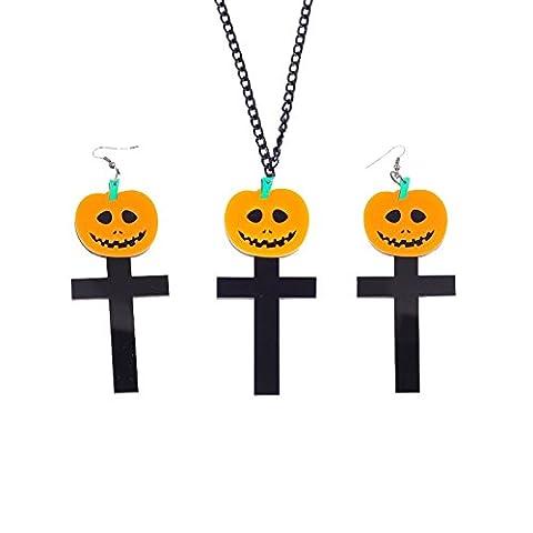 Beydodo Halloween Party Jewellery Resin Black Cross Pumpkin Pendant Necklace and Dangle Earrings for