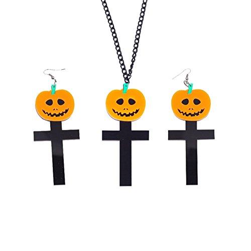 Beydodo Halloween-Party Schmuck Vergoldet Ohrring und Anhänger Halskette Set Kürbis Kreuz Halloween (Kostüme Kleinkind Wikinger)