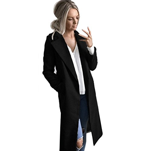 Kleidung FORH Damen Mantel Trench coat Winter wärmen Long wool coat Modisch Cardigan Mantel elegant Parka Windbreaker Jacke Strickjacke Overcoat Outwear (L, Schwarz)