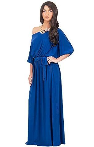 KOH KOH® Damen Schulterfreies Maxikleid Cocktail Abend Elegantes Langes Dress, Farbe Kobalt / Royalblau, Größe L / (1920 Bride Kostüm)