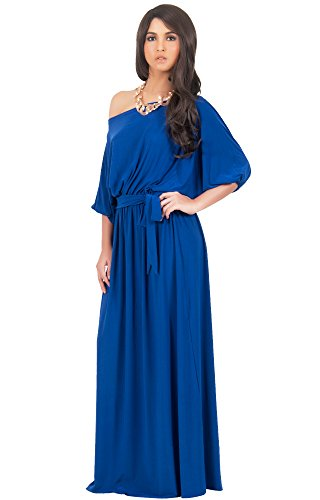 KOH KOH® Femmes Robe Longue Manches 3/4 Épaule Nue Bleu Colbat