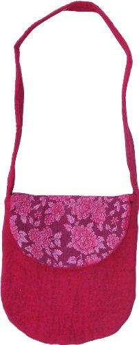 Guru-Shop Filz-Tasche `Sommer`, Herren/Damen, Rosa, Wolle, Size:One Size, 33x28x4 cm, Handtasche, Einkaufstasche, Schultertasche Handarbeit -