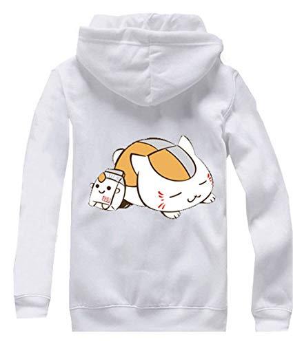 Cosstars Anime Natsume Yuujinchou Hoodie Jacket Cosplay Kostüm Zipper Pullover Jacke Outwear Sweatshirt Mantel Weiß-2 L (Sensei Kostüm Kind)