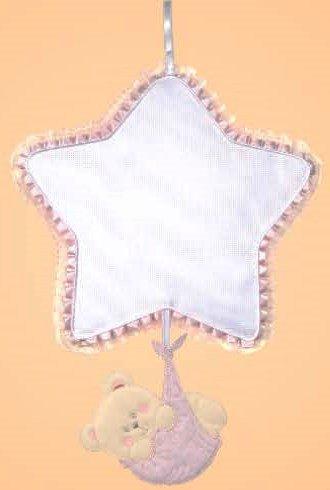 Fiocco nascita stella-orsetto (rosa)