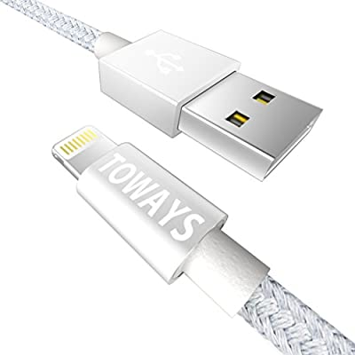 Toways Lightning Cable Nylon Braided USB iPhone Charger for Iphone 7 Plus 7 6S Plus 6 Plus SE 5S 5C 5, iPad 2 3 4 Mini, iPad Pro Air, iPod- Aluminum Connector (Apple MFi Certified)