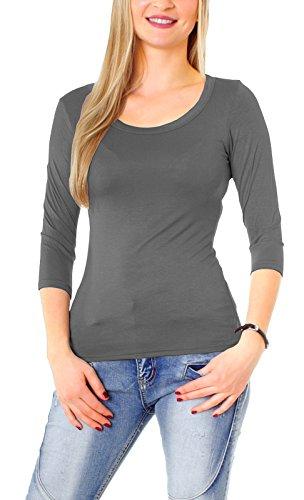 Damen Basic Halbarm T-Shirt Unterziehshirt Unterhemd Stretch Jersey Rundhalsshirt Rundhals 3/4 Arm Eng Uni Einfarbig Dunkelgrau S/36 (Jersey 3/4)