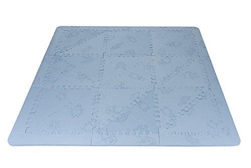 LuBabymats - Alfombra puzzle infantil para bebés de Foam (EVA), suelo extra acolchado para niños, color azul celeste