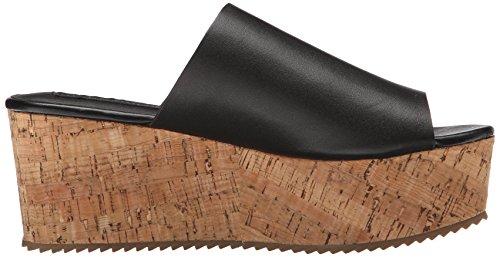 Steven Steve Madden Salma Cuir Sandales Compensés Black Leather