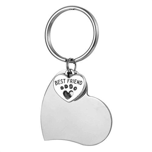 Valyria Best Friend Hund Katze Haustiere ID Colloar Tags mit personalisierbarer Gravur, Pets Tag Charm Herz Schlüsselanhänger, Silber Edelstahl