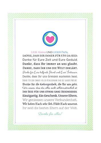 Danke Mama und Papa - Danksagung für Eltern Bild optional mit Rahmen – Geschenk Geschenkidee Geburtstag Hochzeitstag Weihnachten Mutter Vater Kunstdruck DIN A4