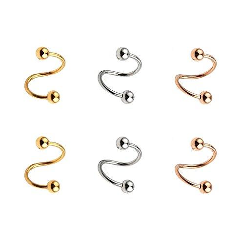 1,2mm acciaio chirurgico torsione orecchio plug orecchini spirale vite helix stud anello labbro corpo piercing gioielli 10mm, briana williams