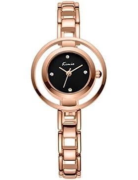 Alienwork Quarz Armbanduhr Armreif Kette wickeln Quarzuhr Uhr Strass elegant schwarz rose gold Metall YH.KW6100M-04