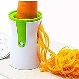 Spiralschneider Hand für Gemüsespaghetti Kartoffel, OYD Zucchini Spargelschäler Gurkenschneider mit 2 Klingen, Gemüsehobel ideal für Obst- und Gemüsenudeln enthält die Bürste für die Reinigung(Three-in-one spiral knife)