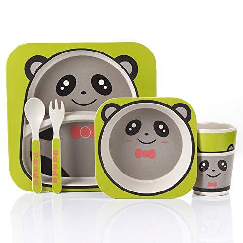 XOSHX 5 Teile/Set Tiergeschirr Bogenschale Gabel Besteck Fütterungsset 100% Bambusfaser Kinderbesteck Set E (Trim Gold Kunststoff-platten Mit)