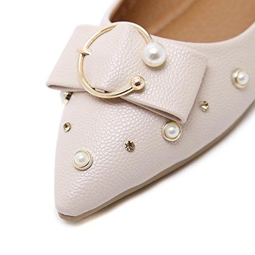 Donne delle nuove comodità per il tempo libero Scarpe singole punta punta punta a bocca corta artificiale rivetti di pompe Corte Diamante bianco rosa primavera autunno partito di lavoro Pink