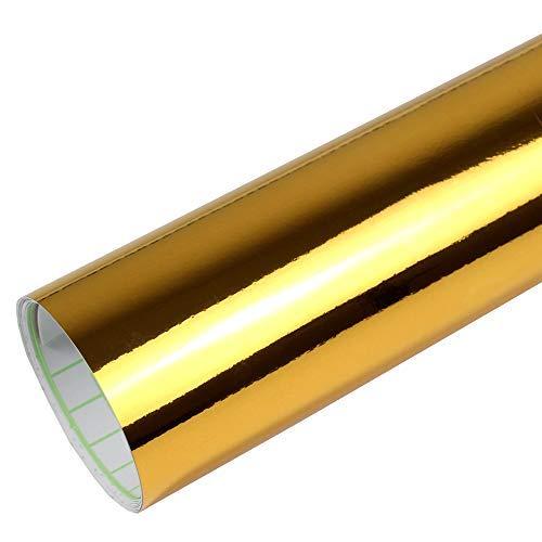 Rapid Teck® 15,79€/m² Premium - Chrom Gold 50cm x 1,52m Auto Folie Blasenfrei mit Luftkanälen für Auto Folierung und 3D bekleben in Matt Glanz und Carbon Autofolie