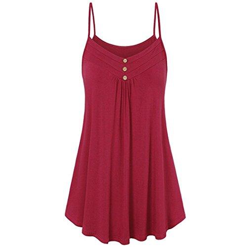 ZIYOU Sommer Trägershirt Damen Lang Bluse Elegant, Frauen Sport Tanz Yoga Fitness Tank Tops V-Ausschnitt Weste mit Knopf Size EU 38 ~ EU 52 (Rot, EU-48/CN-3XL) (Tanz-bh Rote)