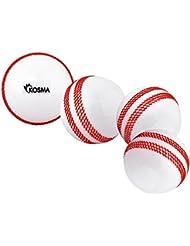 Kosma Set di 4 Vento di cricket a sfera sfera   morbide palline di Formazione   Sport & esterni - bianco con cucitura rossa