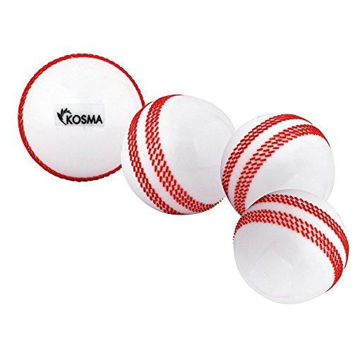 Kosma Satz von 4 Wind Ball Cricket Ball | Soft Trainingsbälle | Sport & Outdoor - weiß mit roter Naht