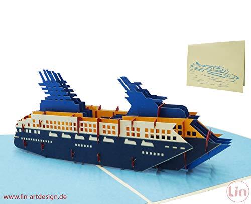 LIN17564, POP UP 3D Grußkarten Schiff Kreuzfahrtschiff POP UP Karte, Reisegutschein Kreuzfahrt, Geburtstagsgeschenk, Hochzeitsreise, Schiffsreisen, Seereisen, Kreuzfahrt Schiff, N315