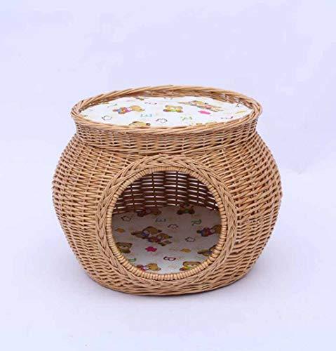 Doppel-weidenkorb (SZ JIAOJIAO PET Nest Handgewebte Weiden Doppel-Schicht PET Nest Abnehmbar Und Waschbar Vier Jahreszeiten Universal Kennel Cat Wurf Biss)