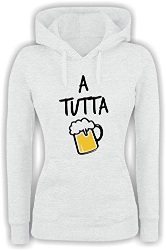 Felpa DONNA Con Cappuccio BASIC top qualità top vestibilità - A TUTTA BIRRA divertente humor MADE IN ITALY Bianco