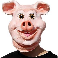 PartyCostume - Joyeux Masque De Cochon - Fête d'halloween, Drôle, Mignon Latex Animal Masque