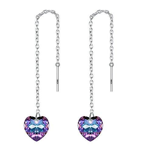 Orecchini argento 925,tenye dolce amore cuore infila lungo orecchini pendenti adornato con viola chiaro swarovski® cristalli